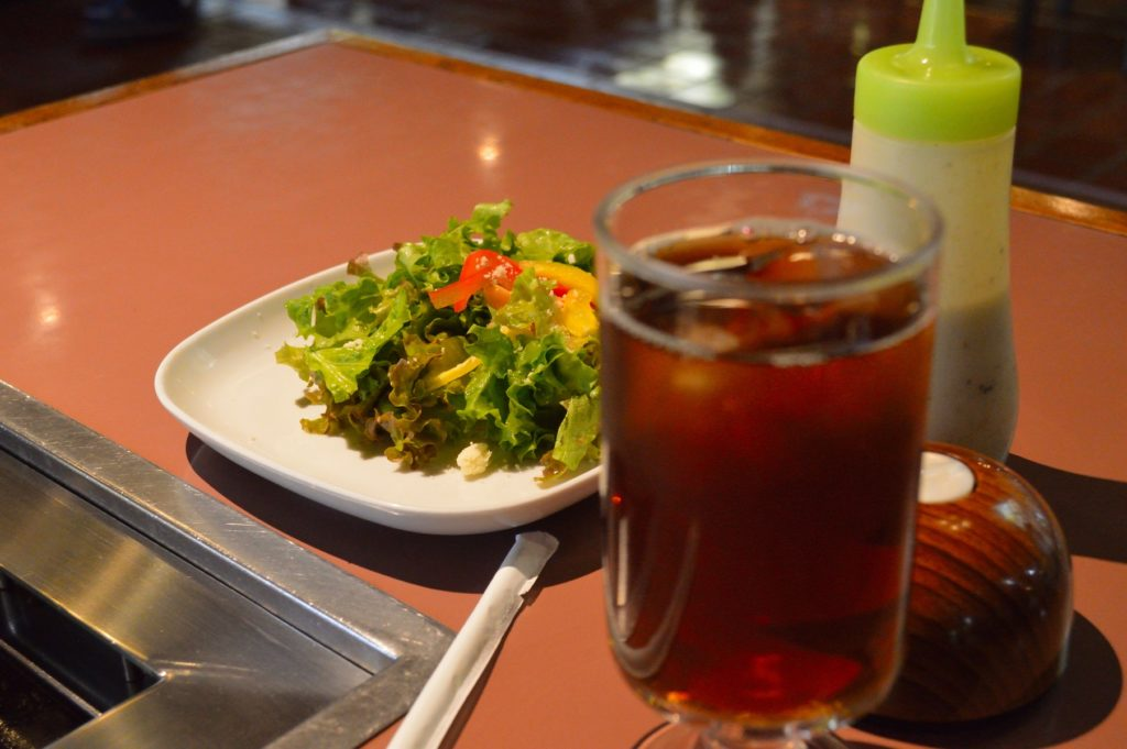茨城県 ひたちなか市 焼肉レストラン風林 風林火山ランチ ドリンクとサラダ